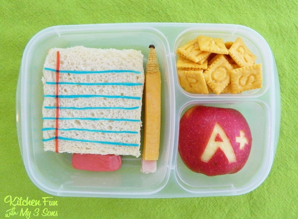 Back to School Bento Lunch Box Idea by Jill from Kitchen Fun with my 3 Sons. LivingLocurto.com