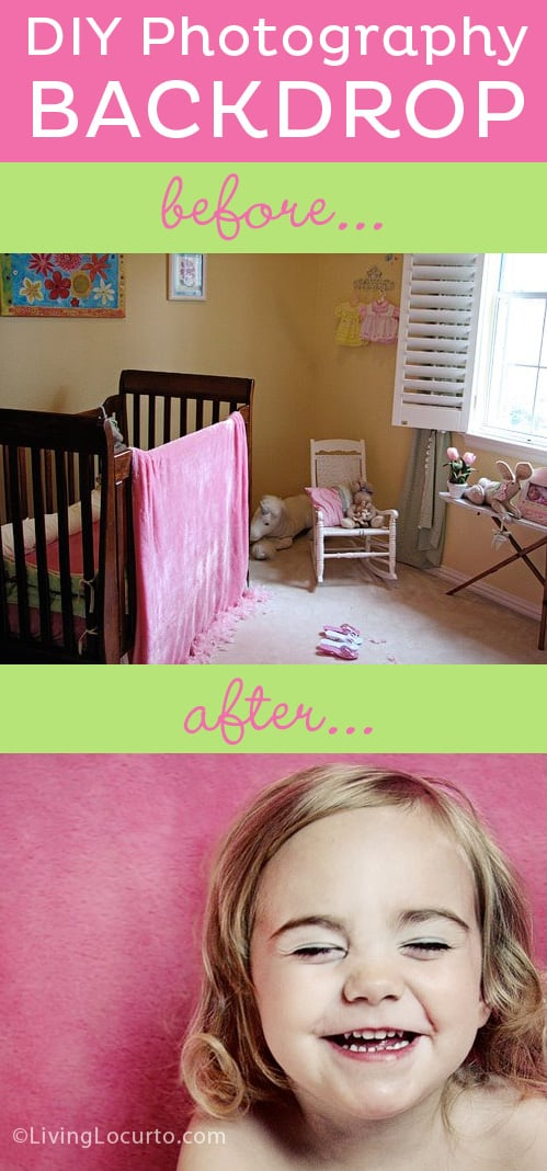 How to make an easy DIY Photography Backdrop for taking great photos of your kids! LivingLocurto.com