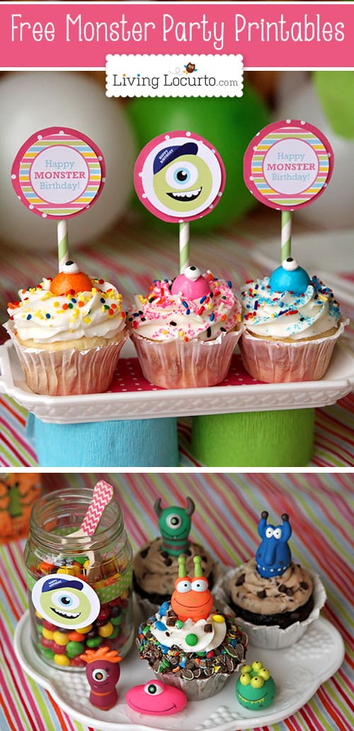 Monster University Birthday Party Ideas with Free Party Printables at LivingLocurto.com #freeprintables #monstersU