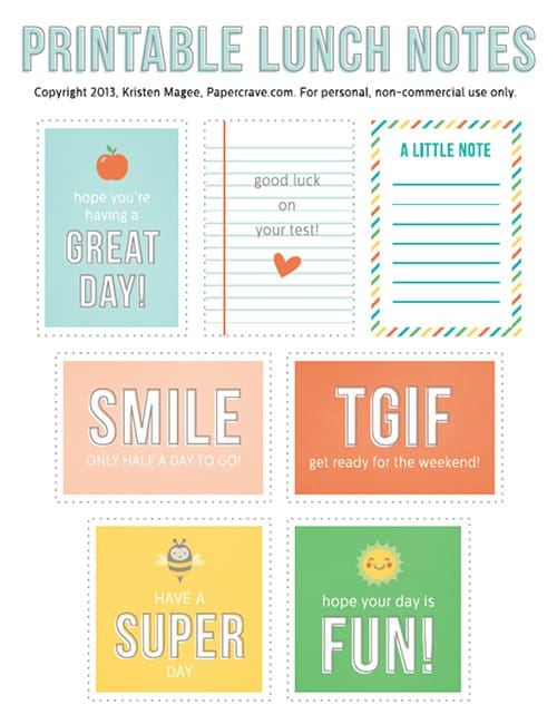 7 Cute Free Printable Lunchbox Notes! LivingLocurto.com