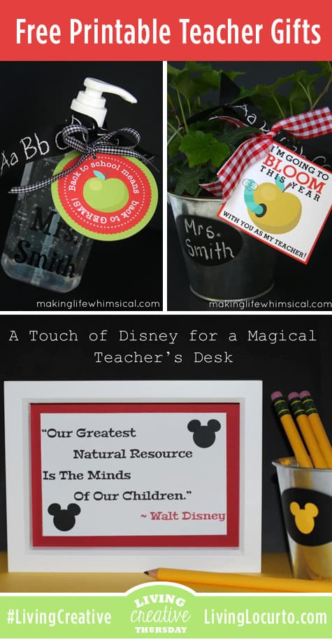 Free Printable Teacher Gift Ideas Featured on Living Creative Thursday at LivingLocurto.com #LivingCreative