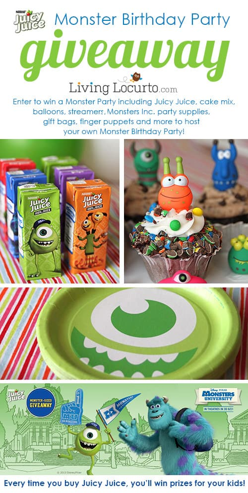 Juicy Juice Monster University Birthday Party Giveaway! Win lots of fun prizes to host a Monster Party. LivingLocurto.com #giveaway #monstersu