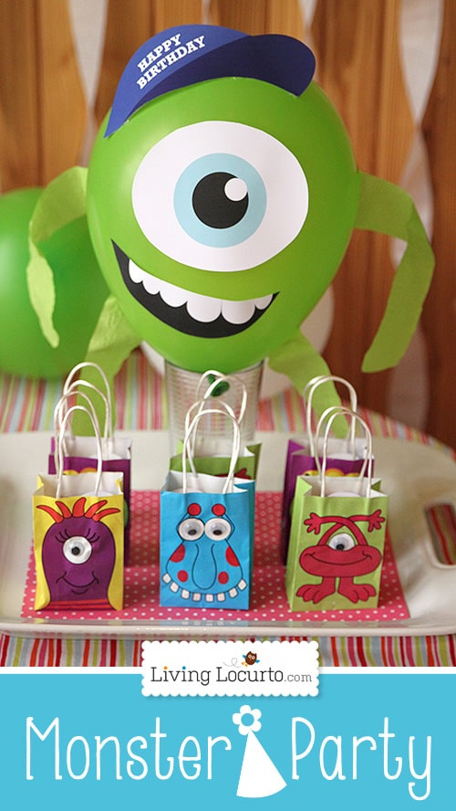 DIY Mike Wazowski Balloon. Printable Design for a fun Monsters University Birthday Party! LivingLocurto.com #monstersu #party #printable