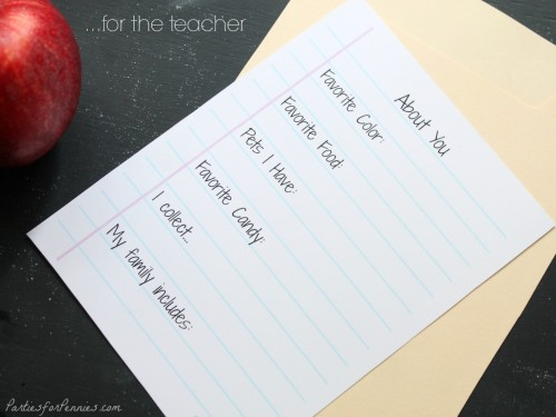 Back to School Free Printable Teacher Interview Cards by Parties for Pennies for LivingLocurto.com