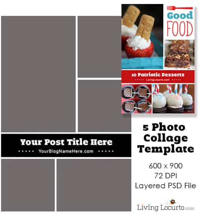 Photoshop Collage Template - Ready for Pinterest! LivingLocurto.com Exclusive