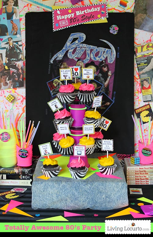 Awesome 80's Birthday Party Ideas! Go back to the 1980's with these rad neon birthday party ideas and hilarious party printables. Jello shots, acid washed jeans and big hair!
