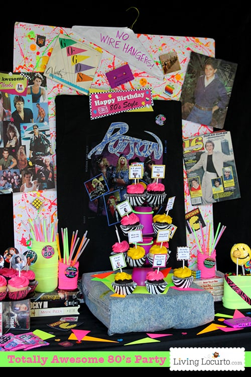 Awesome 80 39 s birthday party ideas 1980 39 s party printables for 80 s table decoration ideas