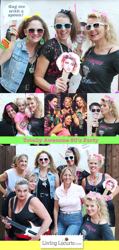 Totally Awesome 80's Neon Birthday Party Ideas, photo booth and party printables! LivingLocurto.com