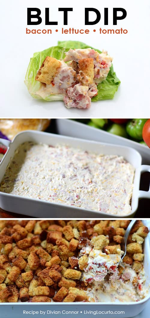 Easy BLT Dip recipe. An amazing Bacon Lettuce Tomato Dip Recipe you will love! Scoop it on lettuce for a delicious low carb appetizer that's perfect for any party! LivingLocurto.com