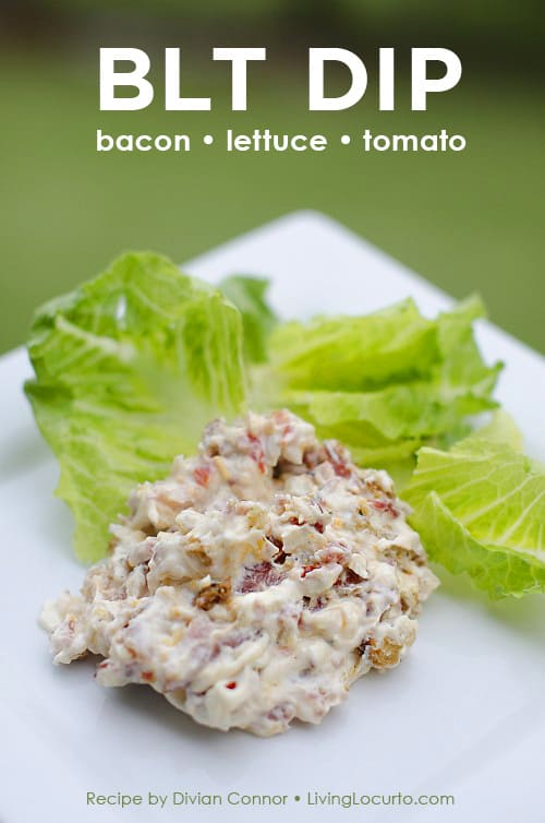 A quick and easy BLT Dip recipe. Bacon Lettuce Tomato Dip. Scoop it on lettuce for a delicious low carb appetizer that's perfect for any party!