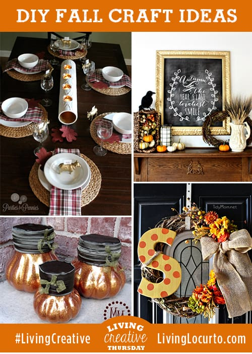 4 Beautiful Fall DIY Craft Decorating Ideas. Featured on #LivingCreative Thursday LivingLocurto.com