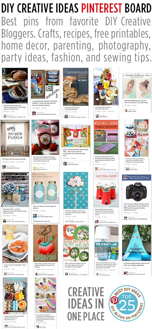 DIY Creative Ideas Pinterest Board - 25 Talented Bloggers - Crafts, recipes, printables, home decor, parenting, photography, party ideas, fashion and sewing.