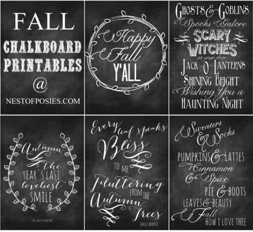 Kellie from Nest of Posies made a beautiful Fall Harvest Chalkboard Mantel Art with her Free Printables! http://www.nestofposies-blog.com/2013/08/fall-and-halloween-chalkboard-quote-printables/