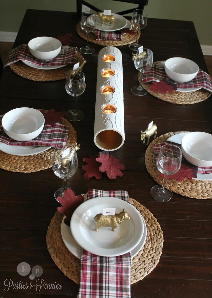 Heidi from Parties for Pennies made a gorgeous fall centerpiece from PVC pipe! http://partiesforpennies.com/2012/09/fall-tablescape-with-pvc-pipe