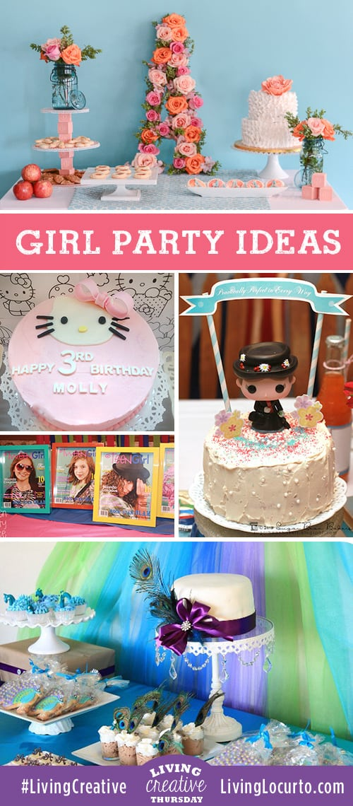 Creative DIY Girl Birthday Party Ideas featured on Living Creative Thursday at LivingLocurto.com - Hello Kitty, Peacock Princess, Mary Poppins, 1st Birthday, and a Rock Star Party.