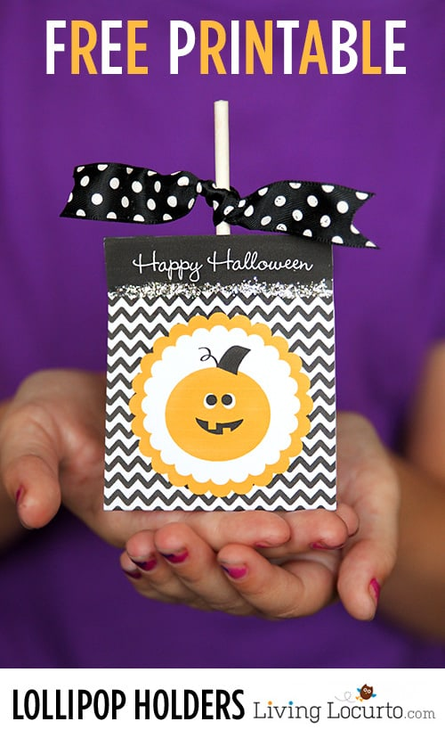 Free Printable Halloween Lollipop Holders - Party Favors by LivingLocurto.com