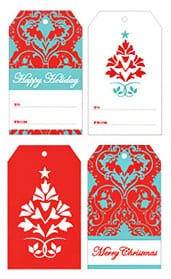 Red & Teal Holiday Gift Tags