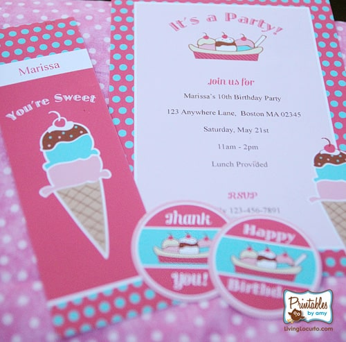 Pink & Teal Ice Cream Party Collection. Cute Printables by Amy Locurto! PrintablesByAmy.com