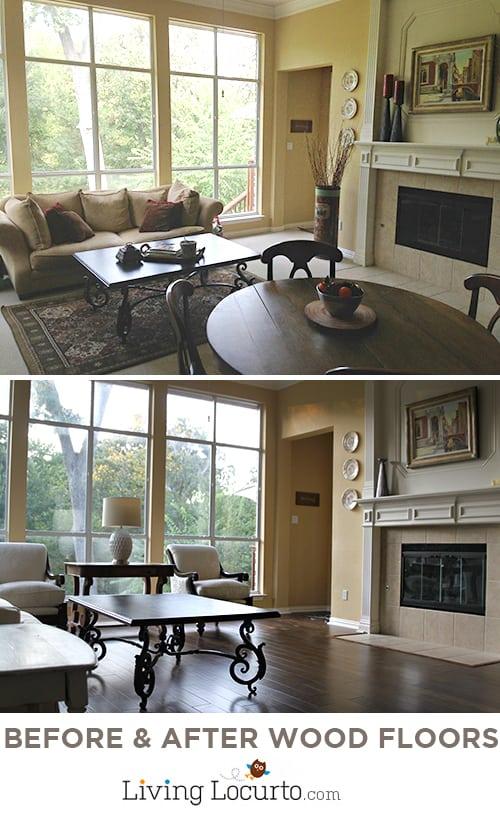 Family Room Decorating Ideas - Before & After Wood Flooring Photos. DIY Home Decor LivingLocurto.com