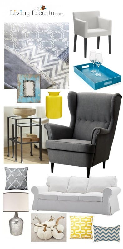Blue, Yellow and Gray Inspiration Board.  Family Room decorating ideas LivingLocurto.com