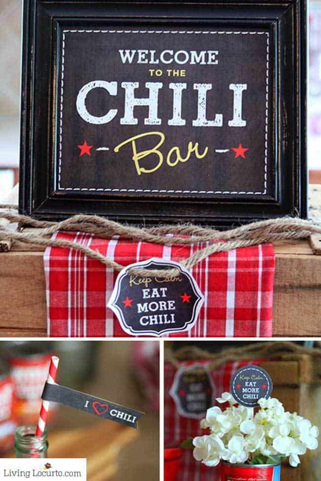 Chili Party Ideas Free Printables by Living Locurto