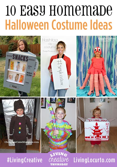 10 Easy homemade Halloween Costumes featured on Living Creative Thursday by LivingLocurto.com