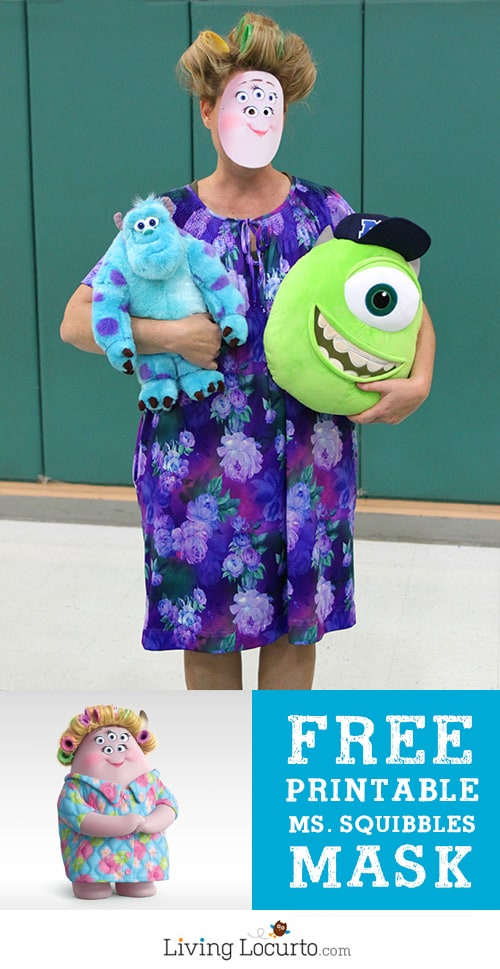 Monsters University Ms. Squibbles Halloween Costume - Free Printable Mask by LivingLocurto.com #halloween #monstersu