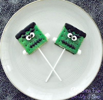Get 11 Funky Frankenstein Halloween Treat Ideas from Jill at Kitchen Fun with My Sons.