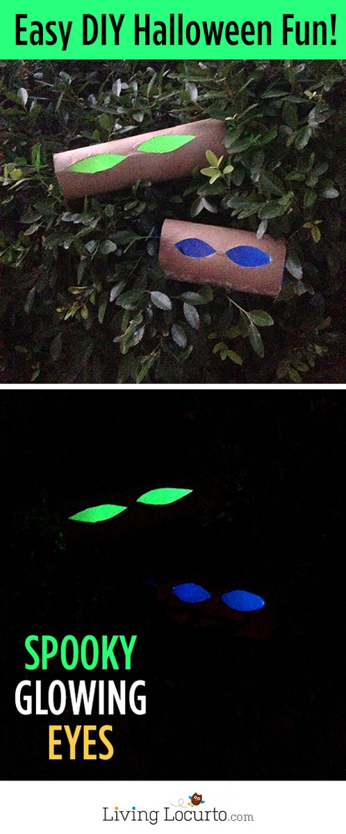 How to Make Glowing Eyes - Easy Halloween Haunted Decor! LivingLocurto.com #halloween #craft #glow