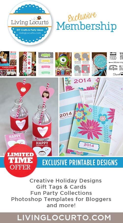 Exclusive Membership to Living Locurto. Get fun printable designs and more! LivingLocurto.com