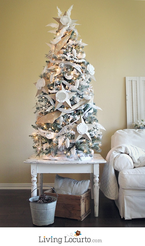 How to paint an artificial Christmas tree a different color.  Michaels Dream Tree Challenge - White Christmas Tree by LivingLocurto.com