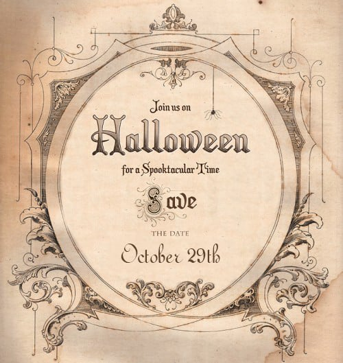 click the links to download a halloween party save the date invitation