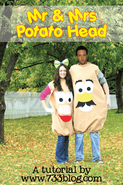 Learn how to make a DIY Mr. & Mrs. Potato Halloween Costume from Seven Thirty Three.  featured on LivingLocurto.com
