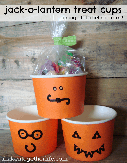 Alphabet stickers to create Jack-o-lantern faces on Halloween treat cups by Shaken Together