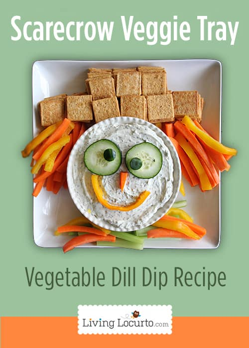Scarecrow Vegetable Tray and Dill Dip Recipe. Cute Thanksgiving or Fall Veggie tray platter!