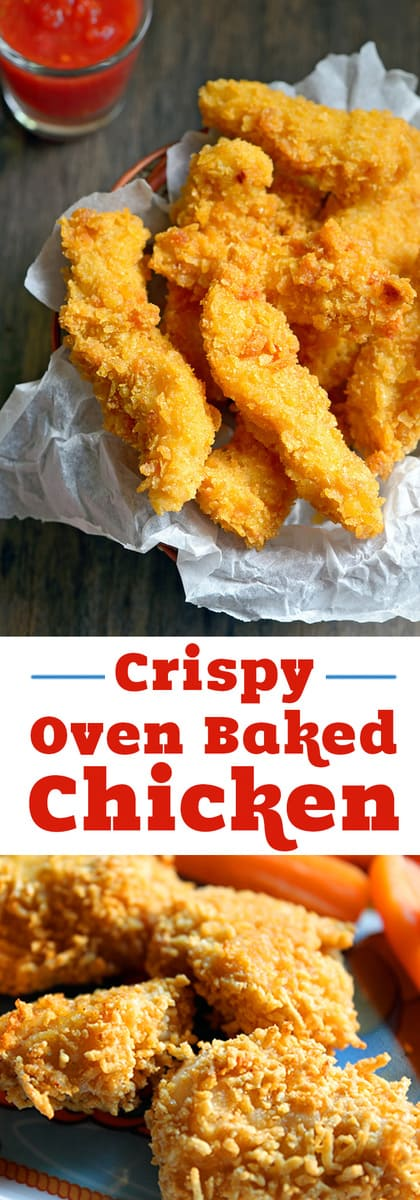 Easy crispy oven baked chicken recipe your family will love for dinner! Only 10 minutes of prep time for healthy oven fried chicken! Make nuggets for kids or strips for dipping.  #chicken #dinner #bakedchicken #easyrecipe #recipes #crispychicken #livingLocurto
