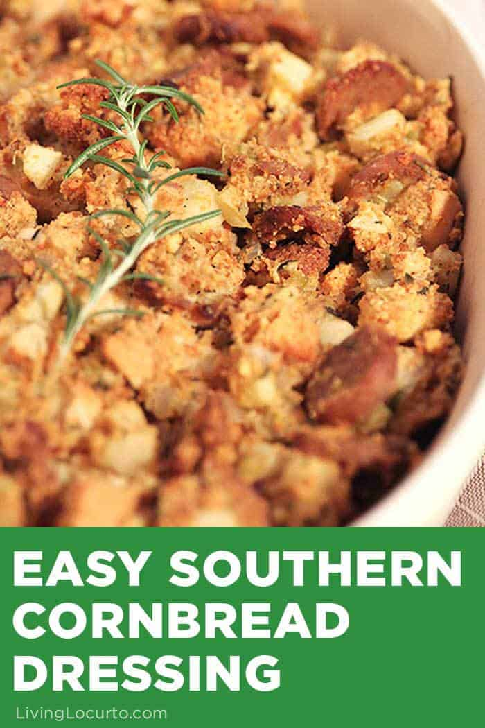This Easy Southern Cornbread Dressing is a delicious Thanksgiving side dish or everyday dinner recipe! The combination of apples and sausage lets you enjoy sweet and savory flavors all in one bite. #thanksgiving #dressing