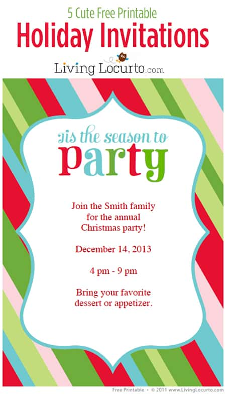 5 Free Printable DIY Holiday Party Invitations - Customize and print! LivingLocurto.com