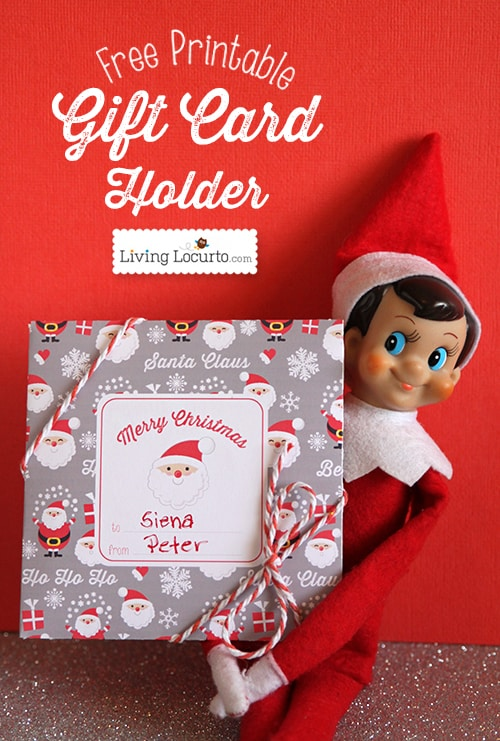 Free Printable Santa Themed Paper Gift Card Holder for DIY Christmas Gifts by LivingLocurto.com Add a note or stickers from Santa or an Elf on the Shelf.