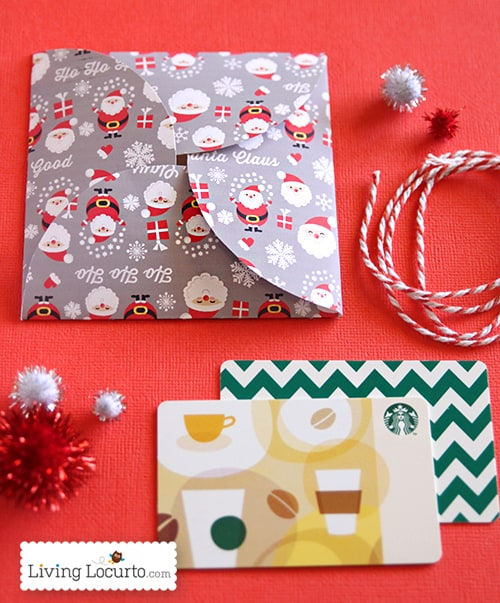 Free Printable Santa Themed Paper Gift Card Holder for DIY Gifts by LivingLocurto.com