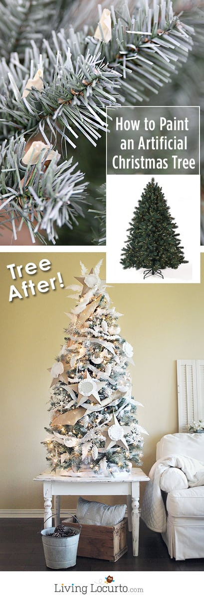 How to paint an artificial Christmas tree a different color. This painted white Christmas tree and homemade ornaments are easy holiday home decor crafts! Before and after photos of Christmas Tree with instructions on how to paint one.