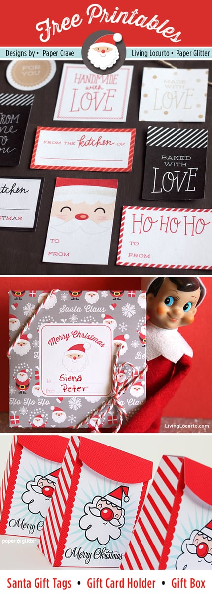 Cute Santa Themed Free Printables for DIY Gifts by Living Locurto, Paper Crave and Paper Glitter.