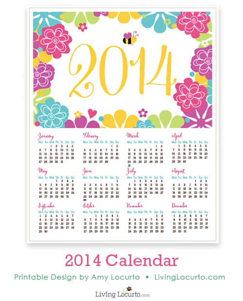 Pretty 2014 Printable Calendar by LivingLocurto.com