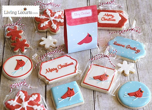 Beautiful Red Bird Christmas Printables & Cookies - A perfect DIY Gift Idea! LivingLocurto.com ~ Cookies by Lizy B