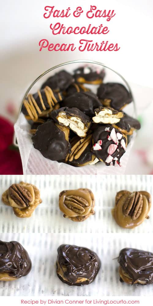 Chocolate Pecan Turtles - A fast and easy recipe! Livinglocurto.com