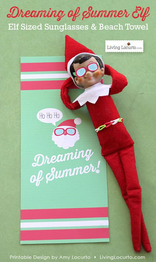 graphic regarding Elf on the Shelf Printable Props called Elf Sungles and Beach front Towel Printables Xmas Elf Designs