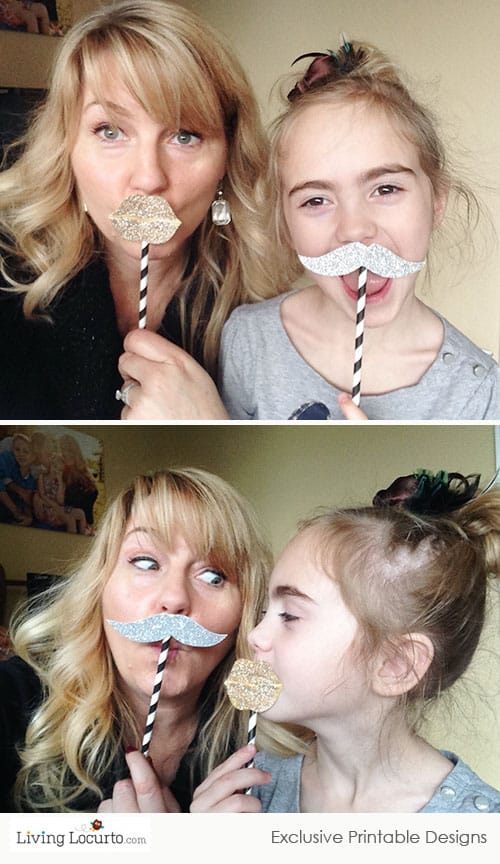 Glitter Printable Photo Props ~ Fun lips & mustaches via LivingLocurto.com
