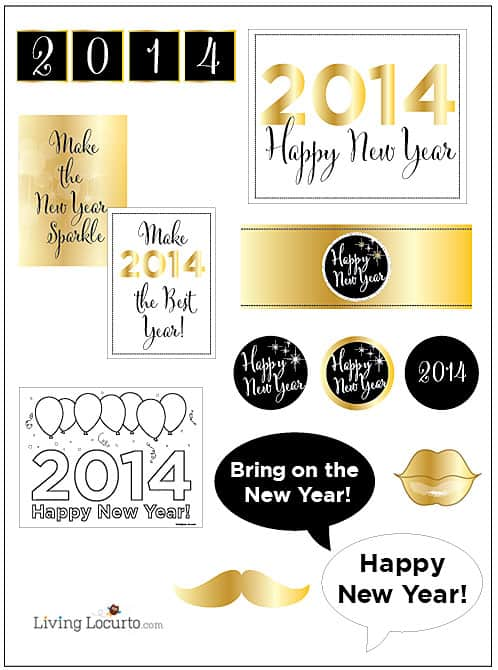 2014 Gold and Black New Years Eve Party Printables  LivingLocurto.com