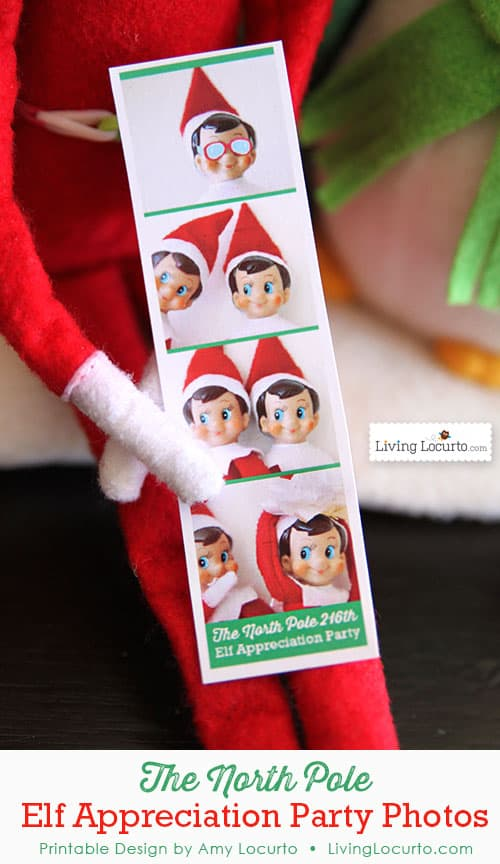 Cute DIY printable idea for an Elf on the Shelf! Surprise your kids with mini photo booth party pictures from The North Pole. LivingLocurto.com