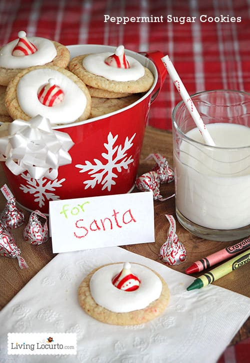 Delicious peppermint sugar cookie recipe made to look like Santa Hats! Simple and easy Christmas cookies for the holidays. #christmas #cookies